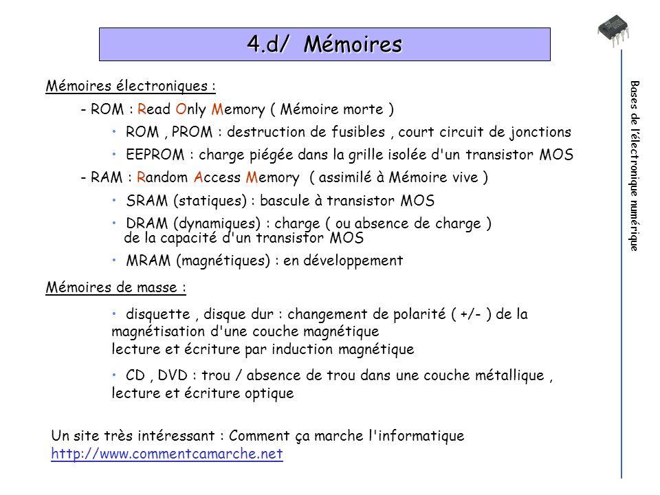 Bases de lélectronique numérique 4.d/ Mémoires Mémoires électroniques : - ROM : Read Only Memory ( Mémoire morte ) ROM, PROM : destruction de fusibles
