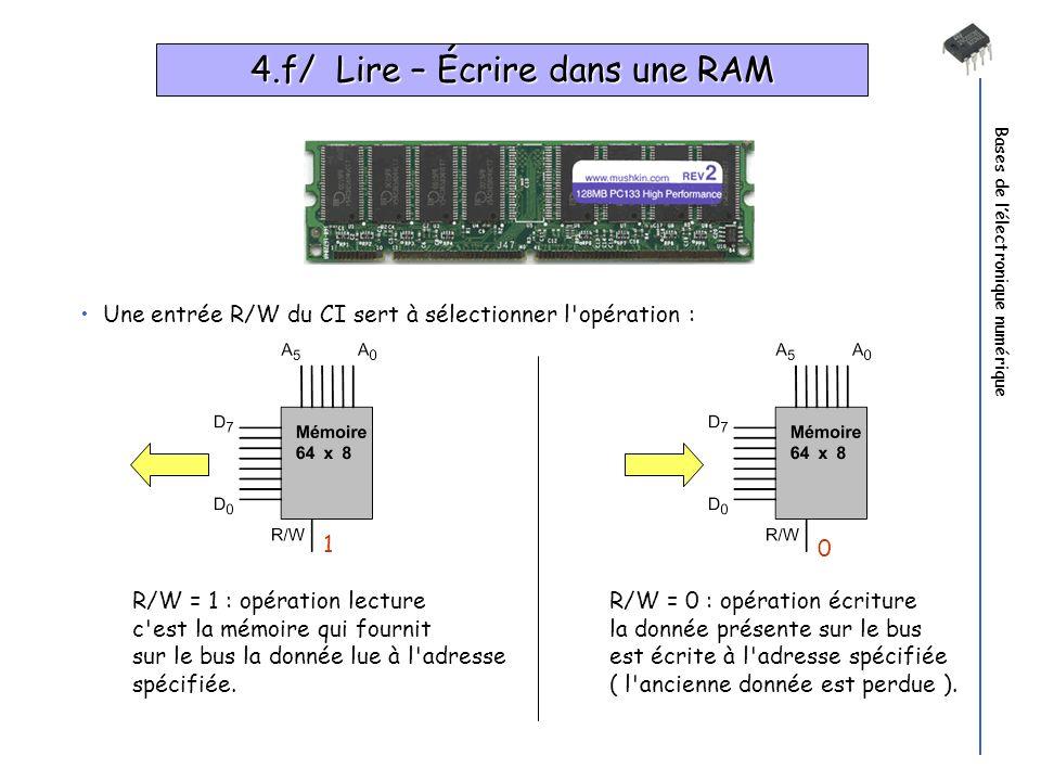 Bases de lélectronique numérique 4.f/ Lire – Écrire dans une RAM Une entrée R/W du CI sert à sélectionner l'opération : R/W = 1 : opération lecture c'