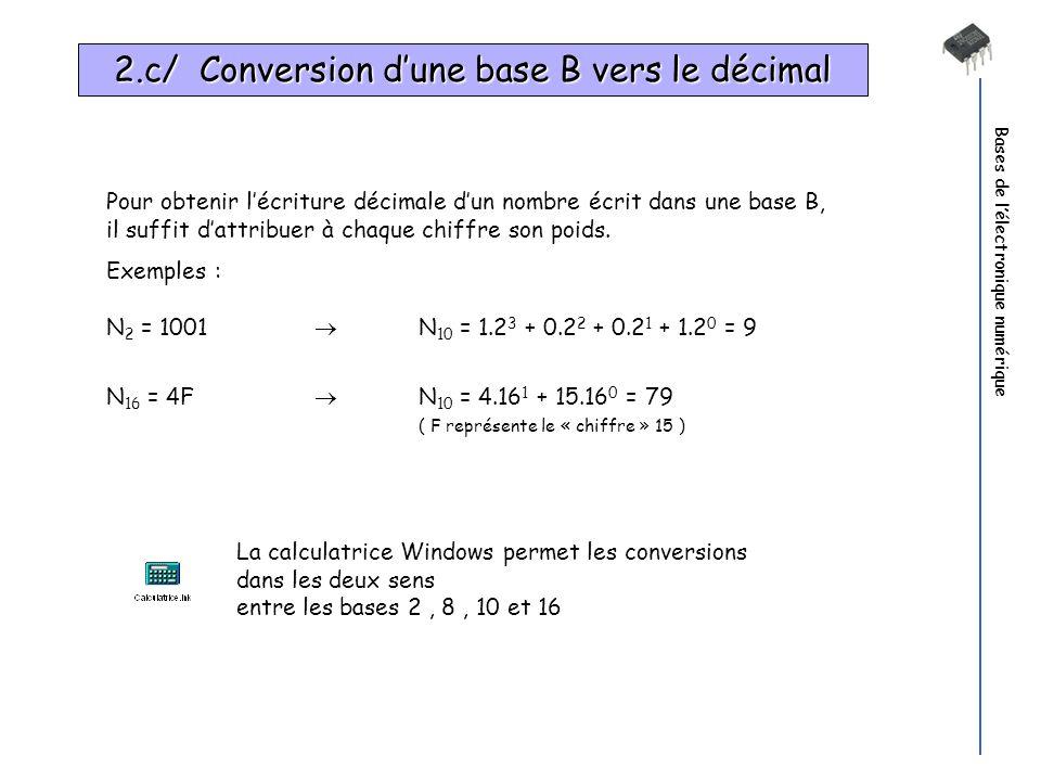 Bases de lélectronique numérique Pour obtenir lécriture décimale dun nombre écrit dans une base B, il suffit dattribuer à chaque chiffre son poids. Ex