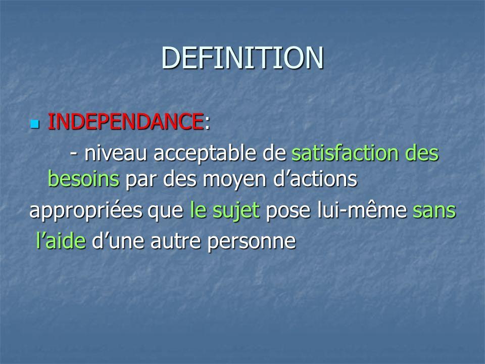DEFINITION INDEPENDANCE: INDEPENDANCE: - niveau acceptable de satisfaction des besoins par des moyen dactions - niveau acceptable de satisfaction des