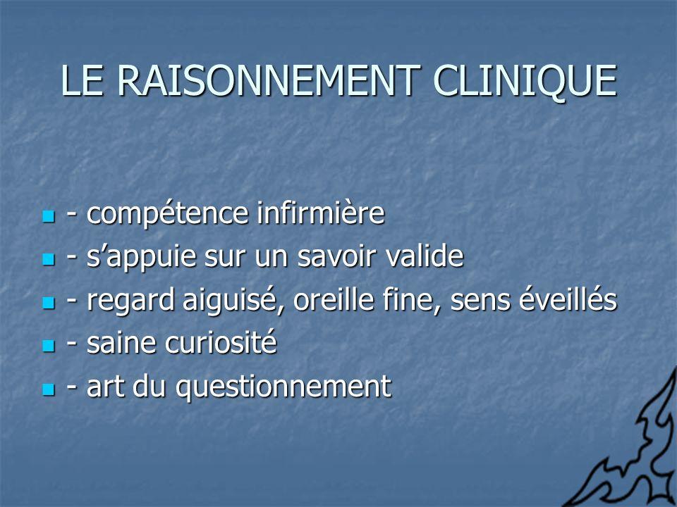 LE RAISONNEMENT CLINIQUE - compétence infirmière - compétence infirmière - sappuie sur un savoir valide - sappuie sur un savoir valide - regard aiguis