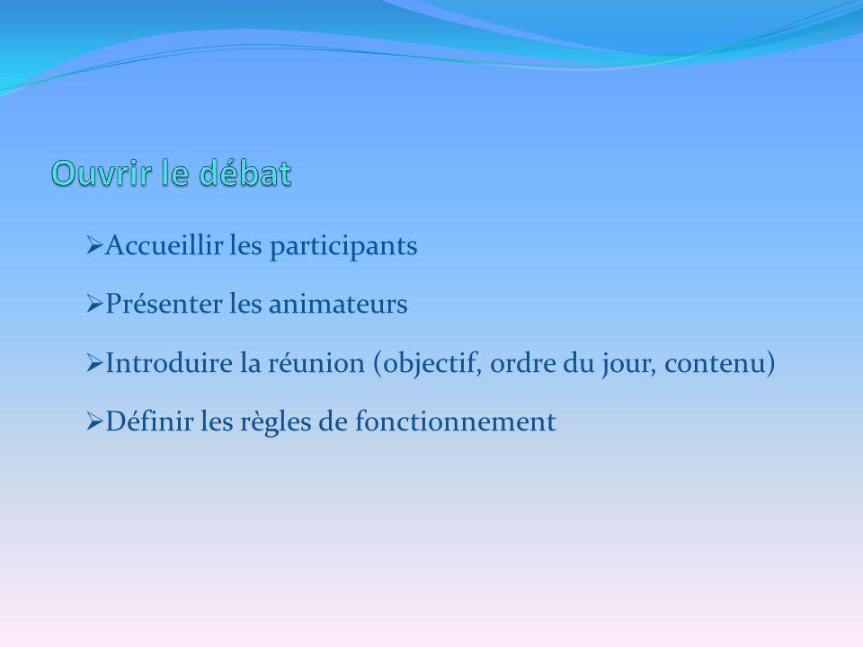 Accueillir les participants Présenter les animateurs Introduire la réunion (objectif, ordre du jour, contenu) Définir les règles de fonctionnement