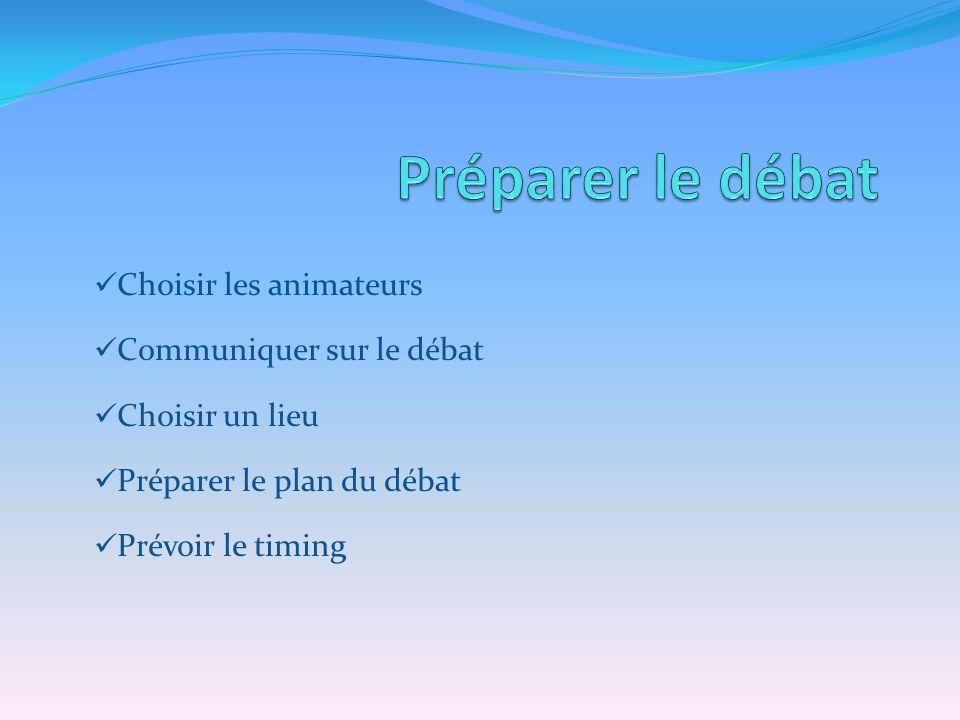 Choisir les animateurs Communiquer sur le débat Choisir un lieu Préparer le plan du débat Prévoir le timing