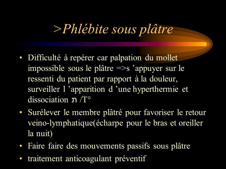 >Phlébite sous plâtre Difficulté à repérer car palpation du mollet impossible sous le plâtre =>s appuyer sur le ressenti du patient par rapport à la d