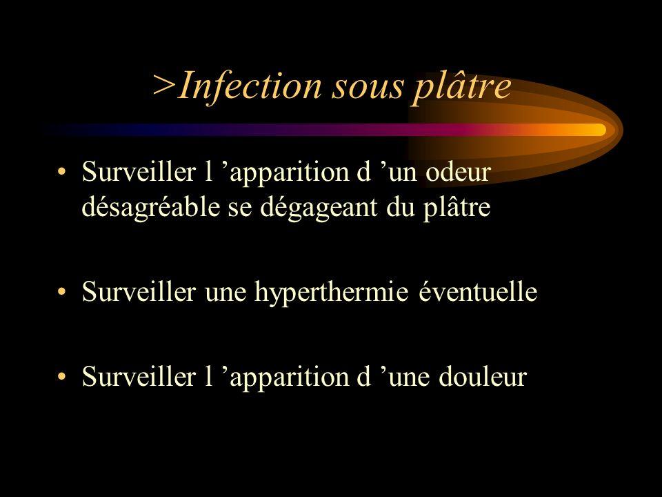 >Infection sous plâtre Surveiller l apparition d un odeur désagréable se dégageant du plâtre Surveiller une hyperthermie éventuelle Surveiller l appar