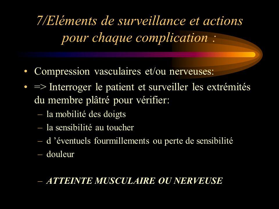 7/Eléments de surveillance et actions pour chaque complication : Compression vasculaires et/ou nerveuses: => Interroger le patient et surveiller les e