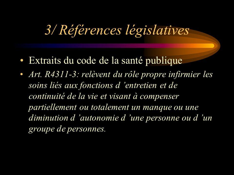 3/ Références législatives Extraits du code de la santé publique Art. R4311-3: relèvent du rôle propre infirmier les soins liés aux fonctions d entret