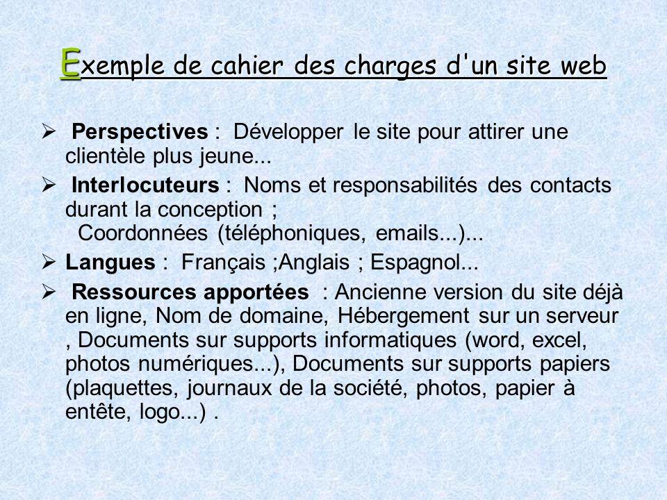 E xemple de cahier des charges d un site web Perspectives : Développer le site pour attirer une clientèle plus jeune...