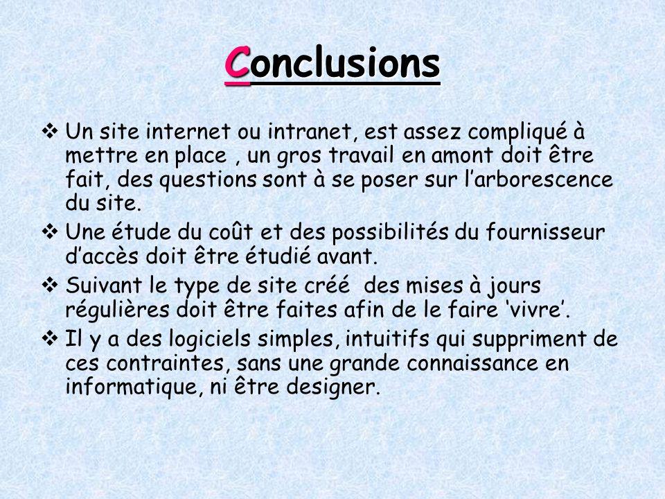 Conclusions Un site internet ou intranet, est assez compliqué à mettre en place, un gros travail en amont doit être fait, des questions sont à se poser sur larborescence du site.