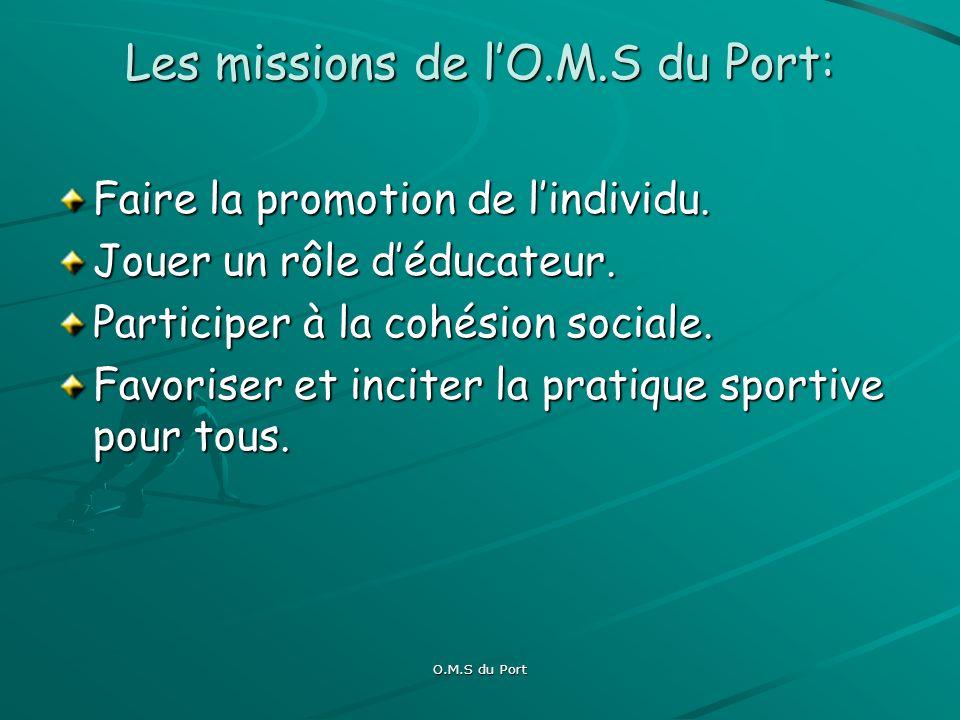 O.M.S du Port Sa culture: Consolider les valeurs sportives qui participent à lépanouissement de lindividu et à la valorisation de la ville.