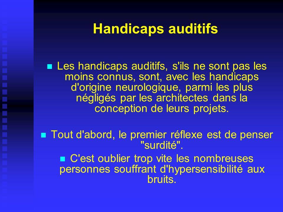Handicaps auditifs Les handicaps auditifs, s'ils ne sont pas les moins connus, sont, avec les handicaps d'origine neurologique, parmi les plus négligé