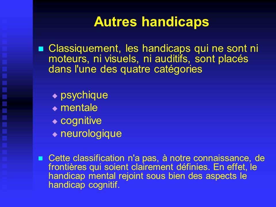 Autres handicaps Classiquement, les handicaps qui ne sont ni moteurs, ni visuels, ni auditifs, sont placés dans l'une des quatre catégories psychique