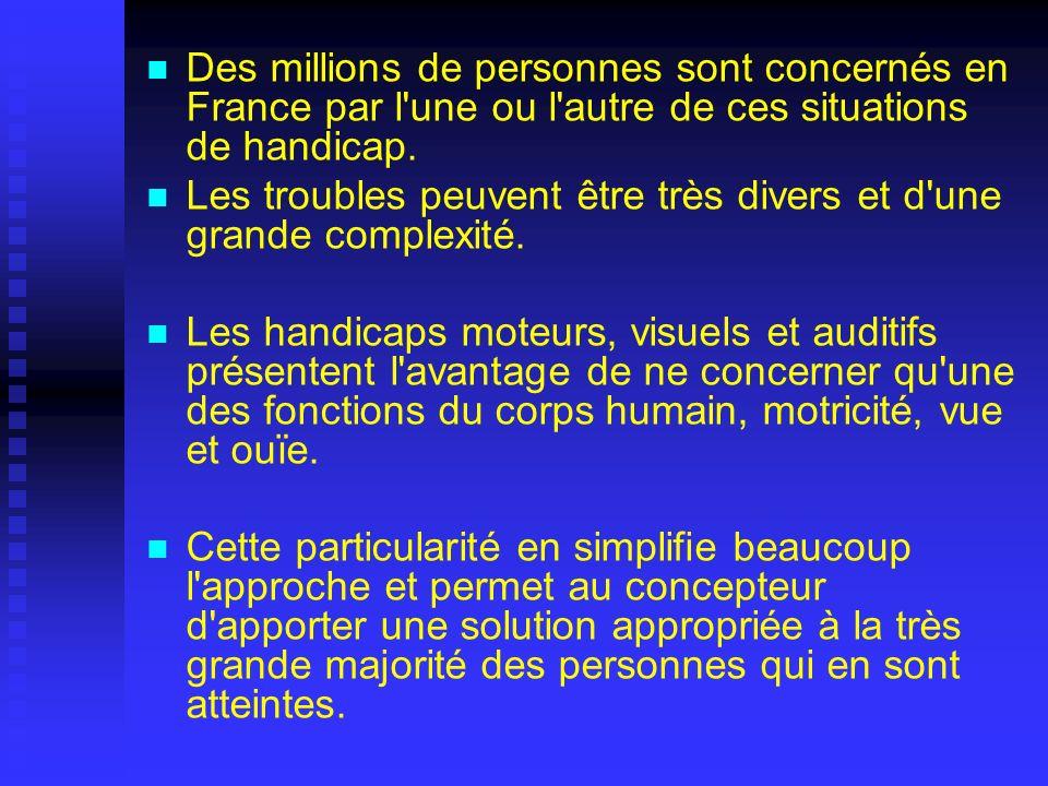 Des millions de personnes sont concernés en France par l'une ou l'autre de ces situations de handicap. Les troubles peuvent être très divers et d'une