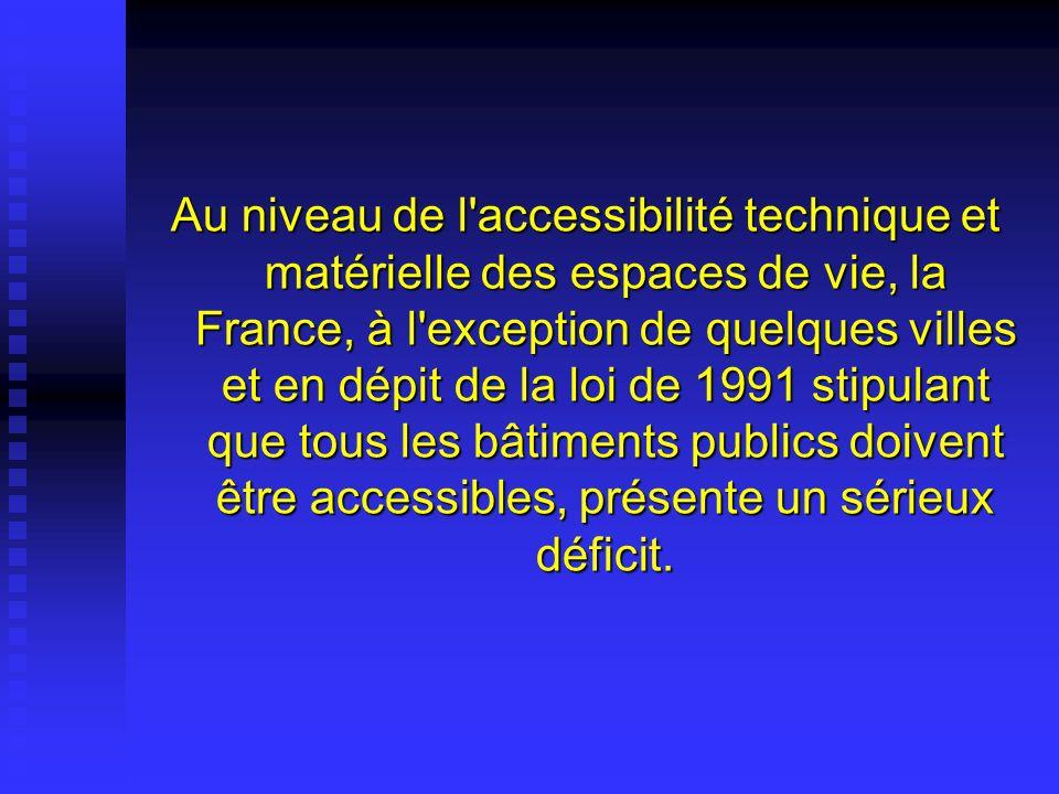 Au niveau de l'accessibilité technique et matérielle des espaces de vie, la France, à l'exception de quelques villes et en dépit de la loi de 1991 sti