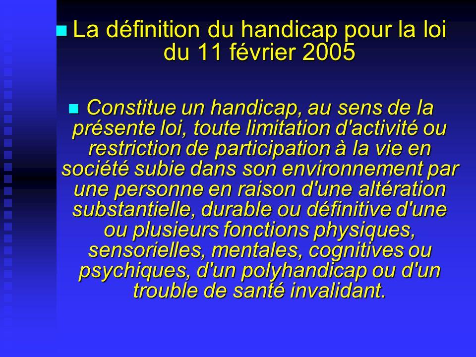 La définition du handicap pour la loi du 11 février 2005 La définition du handicap pour la loi du 11 février 2005 Constitue un handicap, au sens de la