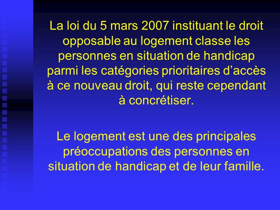 La loi du 5 mars 2007 instituant le droit opposable au logement classe les personnes en situation de handicap parmi les catégories prioritaires daccès