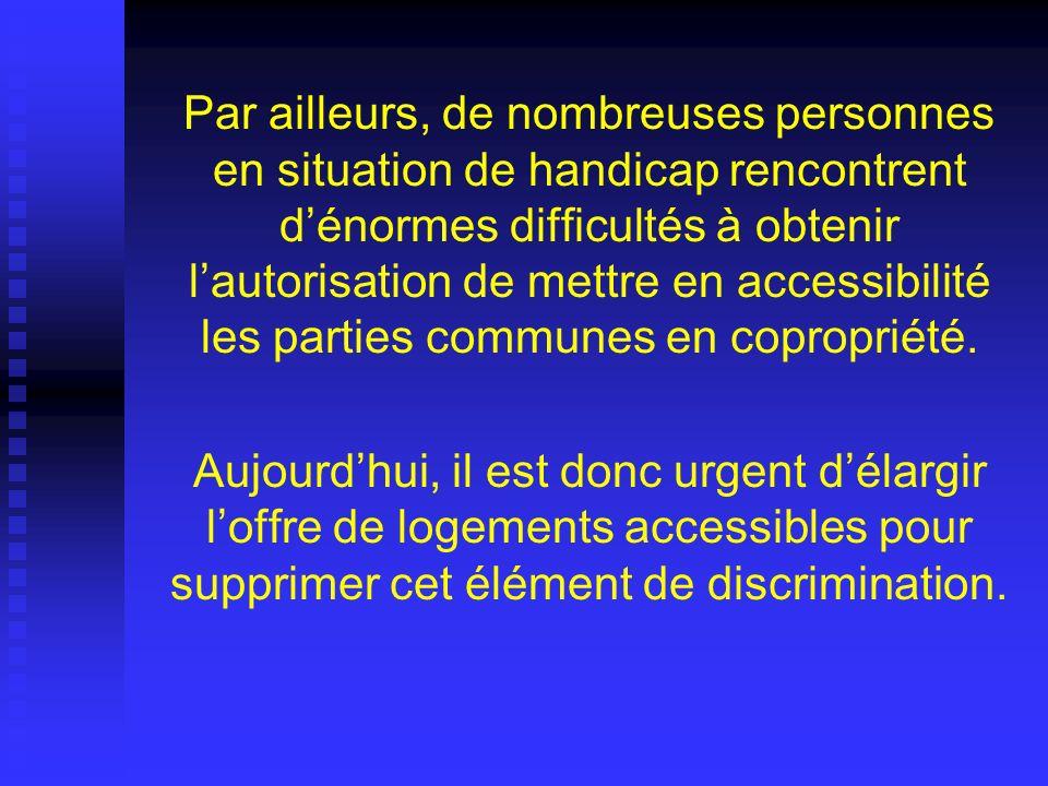 Par ailleurs, de nombreuses personnes en situation de handicap rencontrent dénormes difficultés à obtenir lautorisation de mettre en accessibilité les