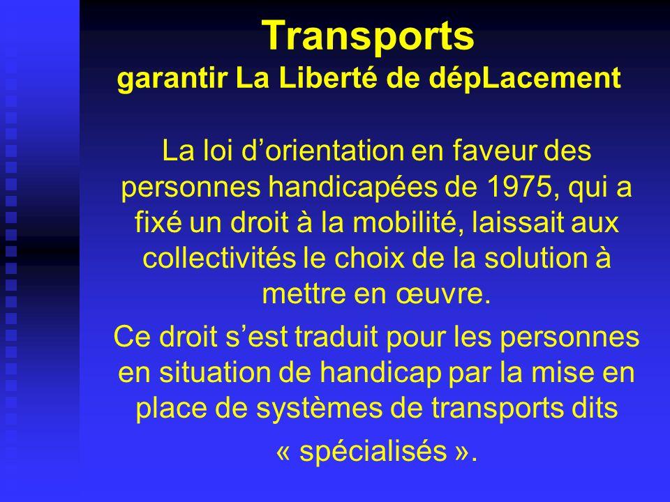 Transports garantir La Liberté de dépLacement La loi dorientation en faveur des personnes handicapées de 1975, qui a fixé un droit à la mobilité, lais