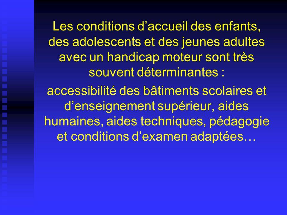 Les conditions daccueil des enfants, des adolescents et des jeunes adultes avec un handicap moteur sont très souvent déterminantes : accessibilité des