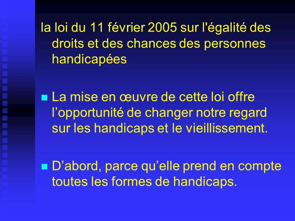 la loi du 11 février 2005 sur l'égalité des droits et des chances des personnes handicapées La mise en œuvre de cette loi offre lopportunité de change