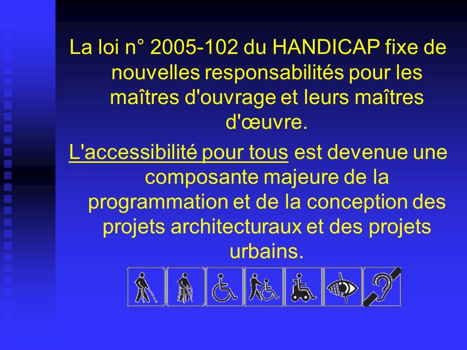La loi n° 2005-102 du HANDICAP fixe de nouvelles responsabilités pour les maîtres d'ouvrage et leurs maîtres d'œuvre. L'accessibilité pour tous est de