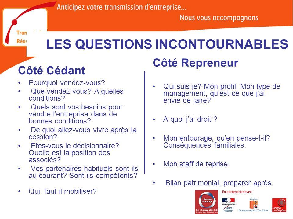 LES QUESTIONS INCONTOURNABLES Côté Cédant Pourquoi vendez-vous.