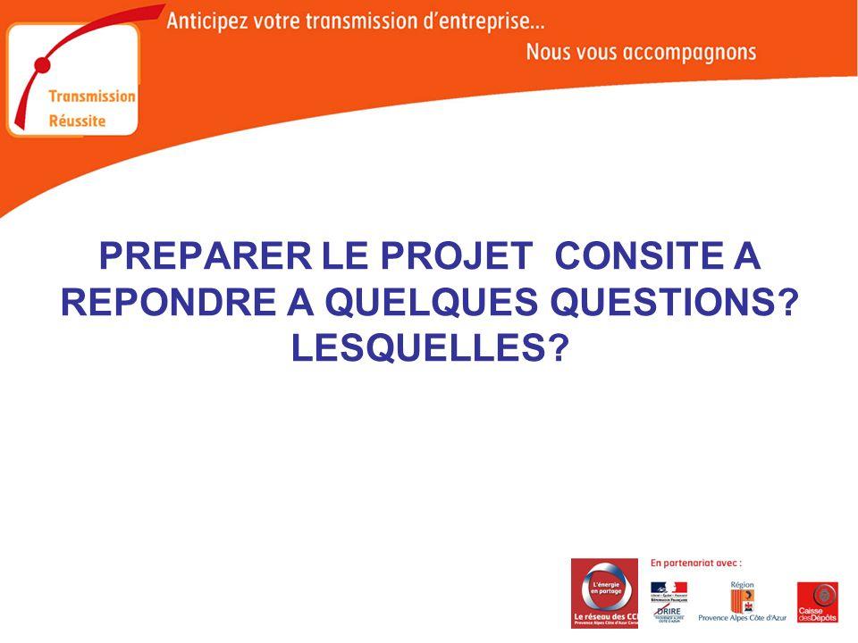 PREPARER LE PROJET CONSITE A REPONDRE A QUELQUES QUESTIONS LESQUELLES