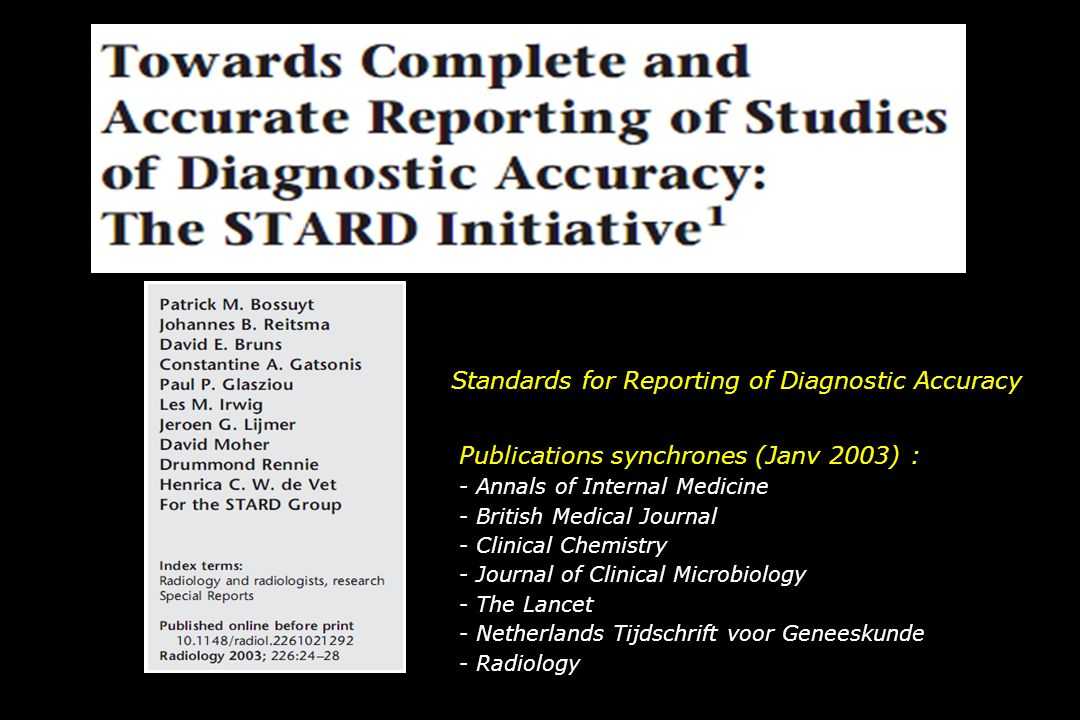 Standards for Reporting of Diagnostic Accuracy Publications synchrones (Janv 2003) : - Annals of Internal Medicine - British Medical Journal - Clinica