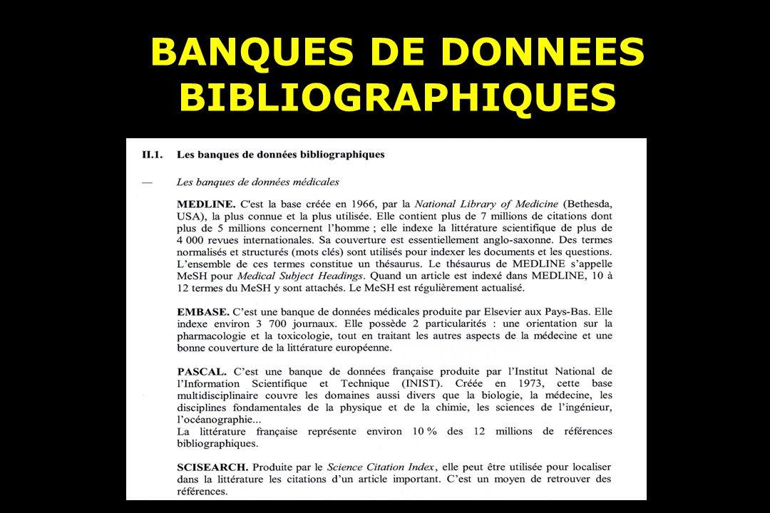 BANQUES DE DONNEES BIBLIOGRAPHIQUES