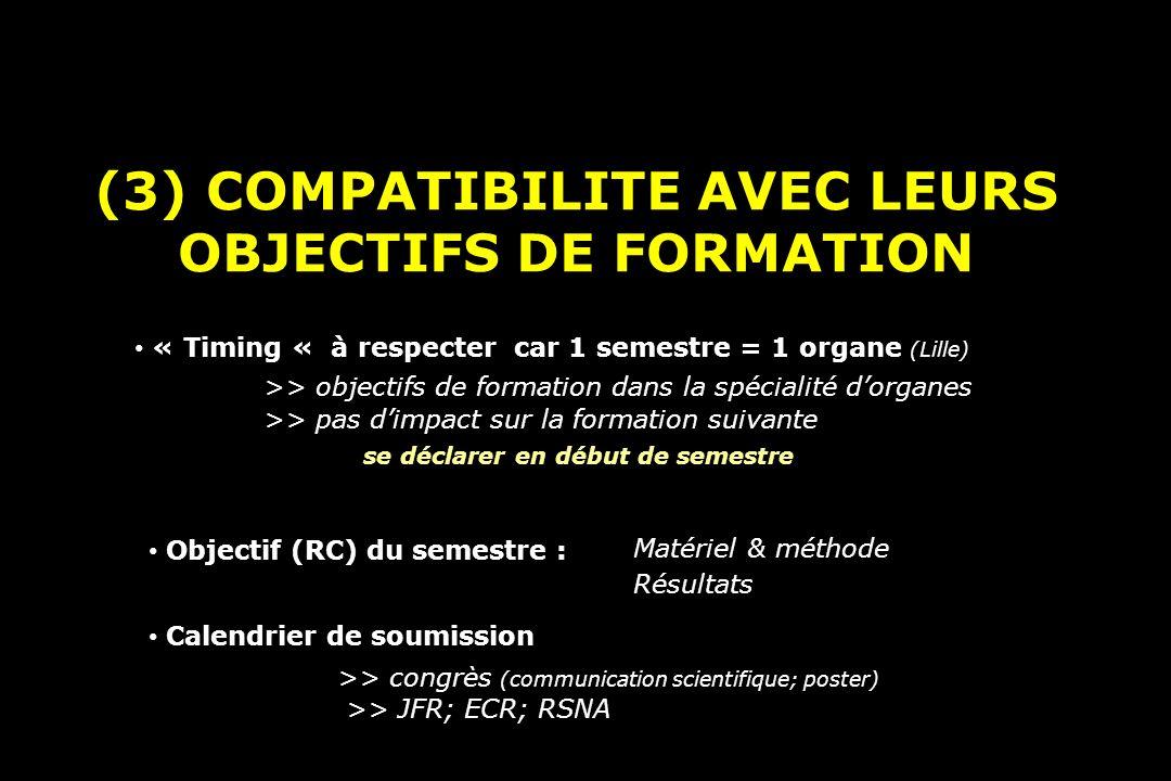(3) COMPATIBILITE AVEC LEURS OBJECTIFS DE FORMATION « Timing « à respecter car 1 semestre = 1 organe (Lille) >> objectifs de formation dans la spécialité dorganes Calendrier de soumission >> congrès (communication scientifique; poster) >> JFR; ECR; RSNA >> pas dimpact sur la formation suivante se déclarer en début de semestre Matériel & méthode Objectif (RC) du semestre : Résultats