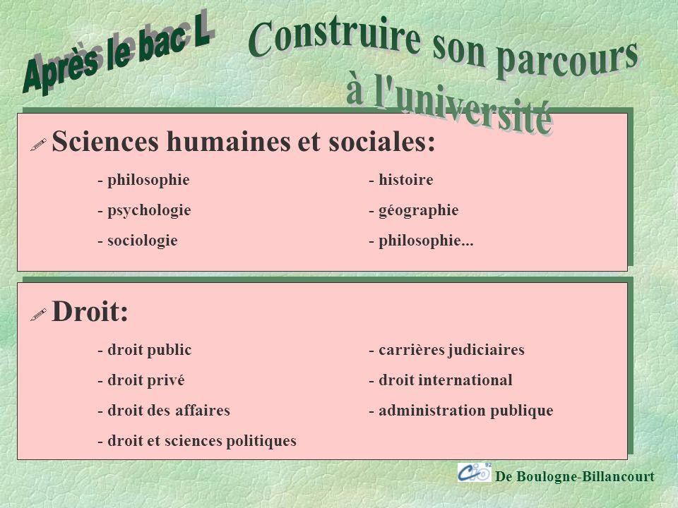 De Boulogne-Billancourt Sciences humaines et sociales: - philosophie- histoire - psychologie- géographie - sociologie- philosophie...