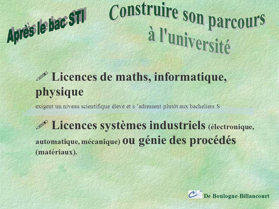 De Boulogne-Billancourt Licences de maths, informatique, physique exigent un niveau scientifique élevé et s adressent plutôt aux bacheliers S Licences systèmes industriels (électronique, automatique, mécanique) ou génie des procédés (matériaux).