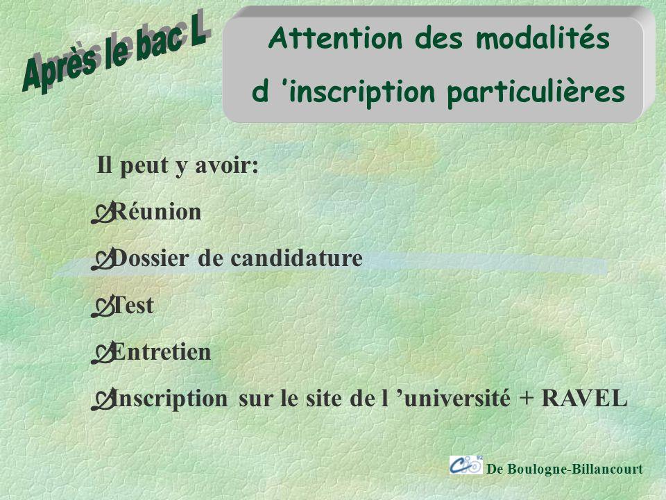 De Boulogne-Billancourt Attention des modalités d inscription particulières Il peut y avoir: Réunion Dossier de candidature Test Entretien Inscription sur le site de l université + RAVEL