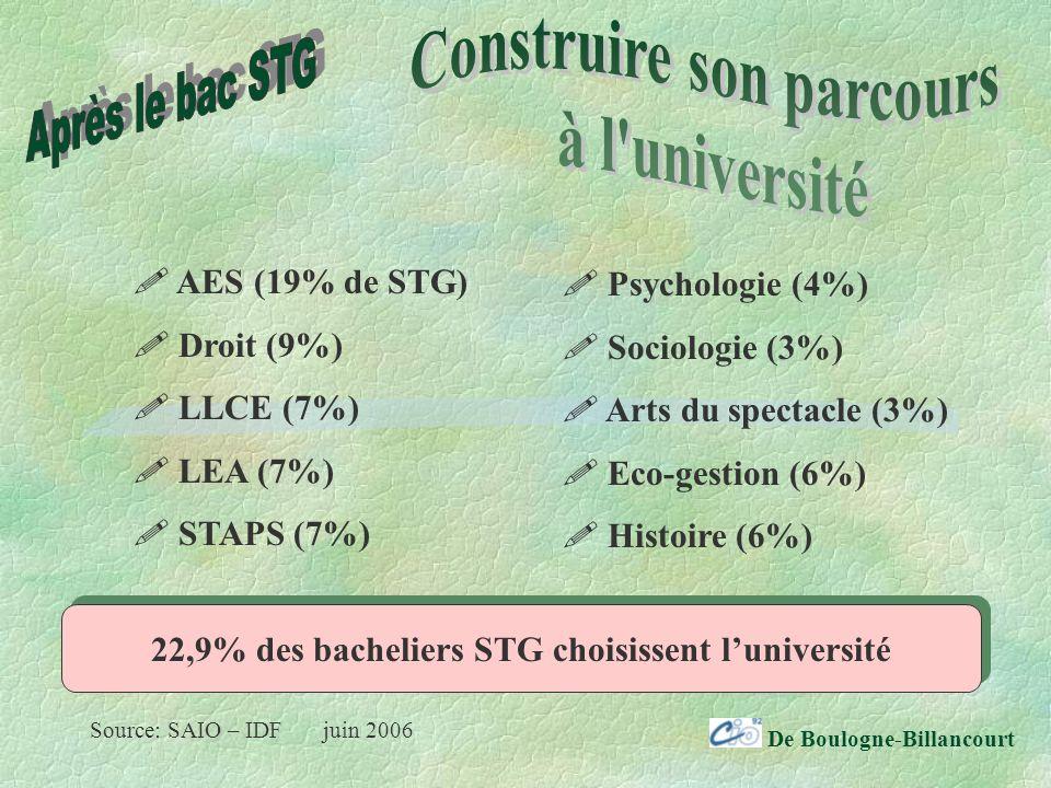 De Boulogne-Billancourt AES (19% de STG) Droit (9%) LLCE (7%) LEA (7%) STAPS (7%) Psychologie (4%) Sociologie (3%) Arts du spectacle (3%) Eco-gestion (6%) Histoire (6%) 22,9% des bacheliers STG choisissent luniversité Source: SAIO – IDF juin 2006