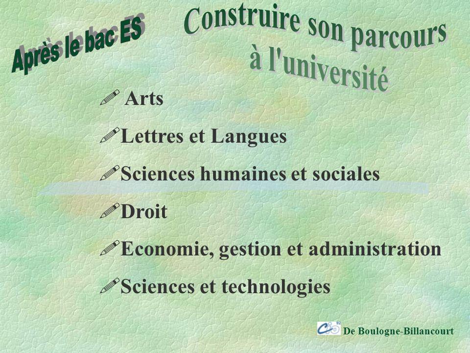 De Boulogne-Billancourt Arts Lettres et Langues Sciences humaines et sociales Droit Economie, gestion et administration Sciences et technologies