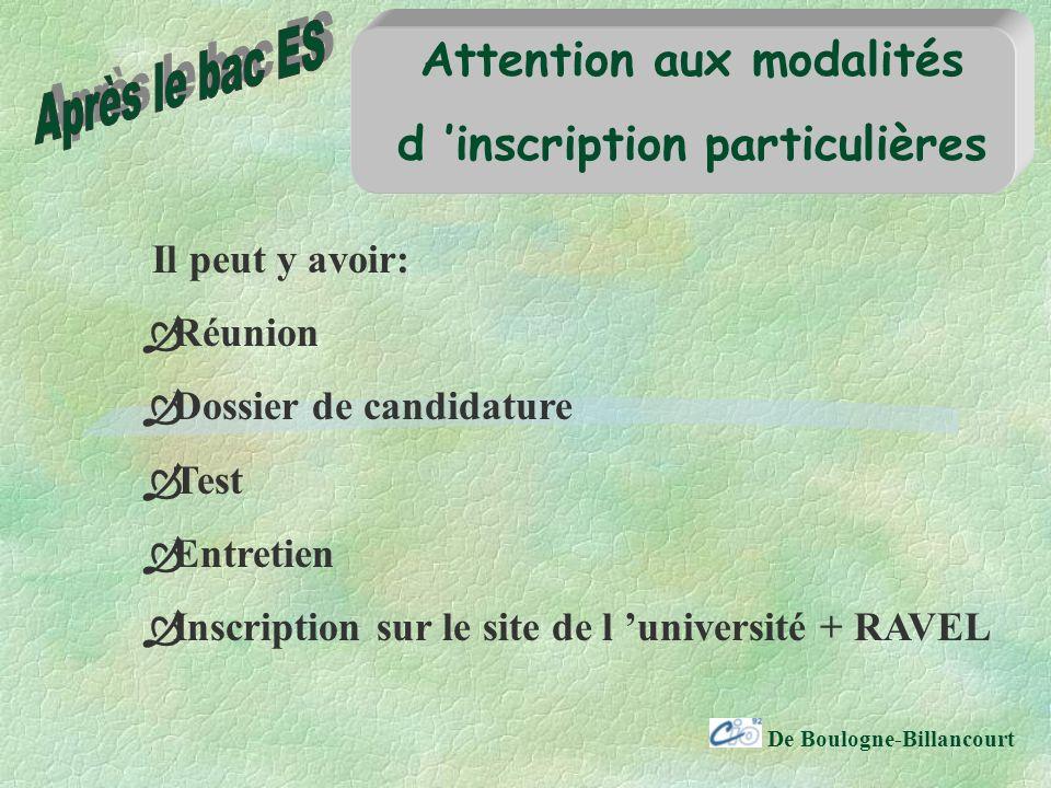 De Boulogne-Billancourt Attention aux modalités d inscription particulières Il peut y avoir: Réunion Dossier de candidature Test Entretien Inscription sur le site de l université + RAVEL