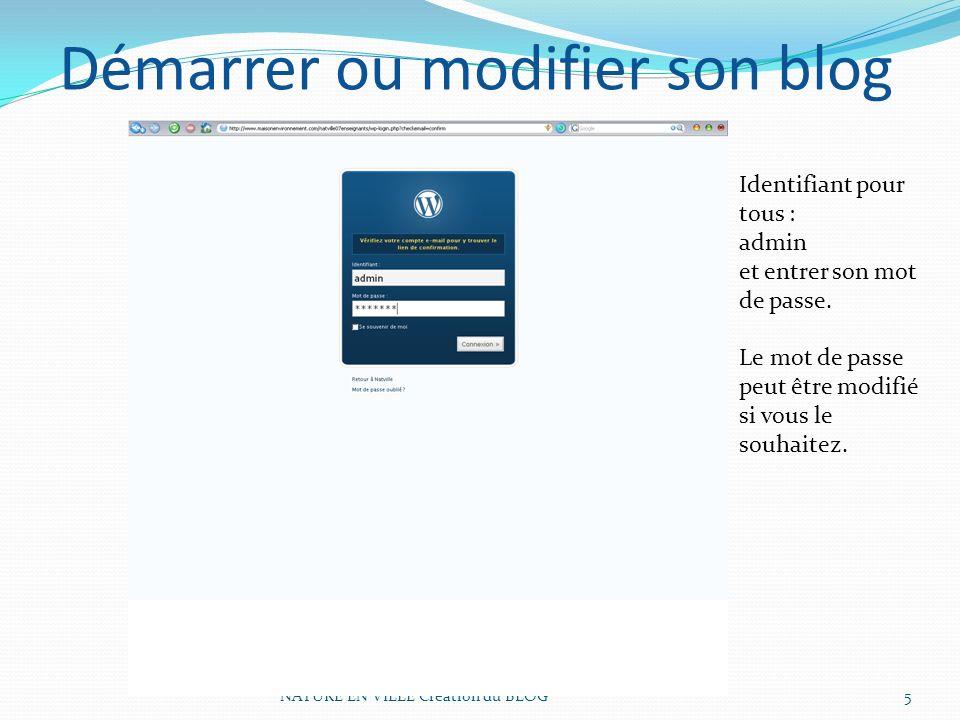 NATURE EN VILLE Création du BLOG5 Démarrer ou modifier son blog Identifiant pour tous : admin et entrer son mot de passe.