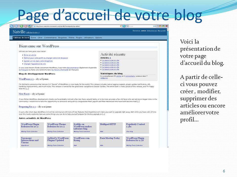 NATURE EN VILLE Création du BLOG6 Page daccueil de votre blog Voici la présentation de votre page daccueil du blog.