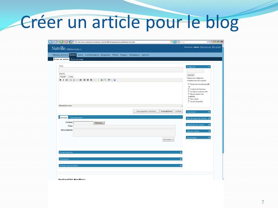 NATURE EN VILLE Création du BLOG7 Créer un article pour le blog