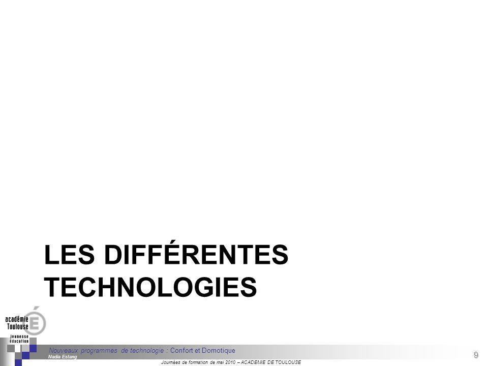 9 Séminaire « Définition de Produits » : méthodologie de définition dune pièce GREC INITIALES Journées de formation de mai 2010 – ACADEMIE DE TOULOUSE 9 Nouveaux programmes de technologie : Confort et Domotique Nadia Estang LES DIFFÉRENTES TECHNOLOGIES
