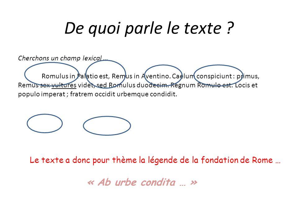 De quoi parle le texte ? Cherchons un champ lexical … Romulus in Palatio est, Remus in Aventino. Caelum conspiciunt : primus, Remus sex vultures videt