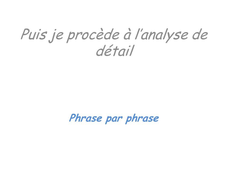 Puis je procède à lanalyse de détail Phrase par phrase