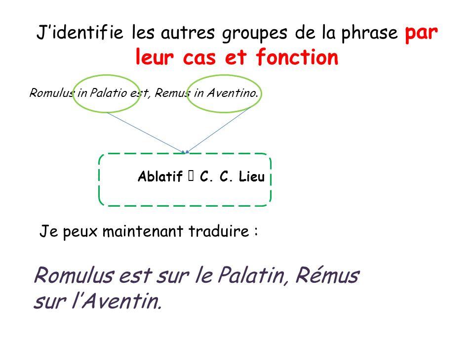 Romulus in Palatio est, Remus in Aventino. Jidentifie les autres groupes de la phrase par leur cas et fonction Ablatif C. C. Lieu Je peux maintenant t