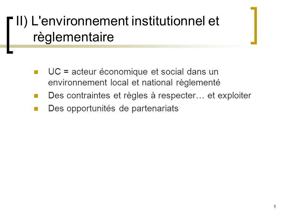 8 II) L'environnement institutionnel et règlementaire UC = acteur économique et social dans un environnement local et national règlementé Des contrain