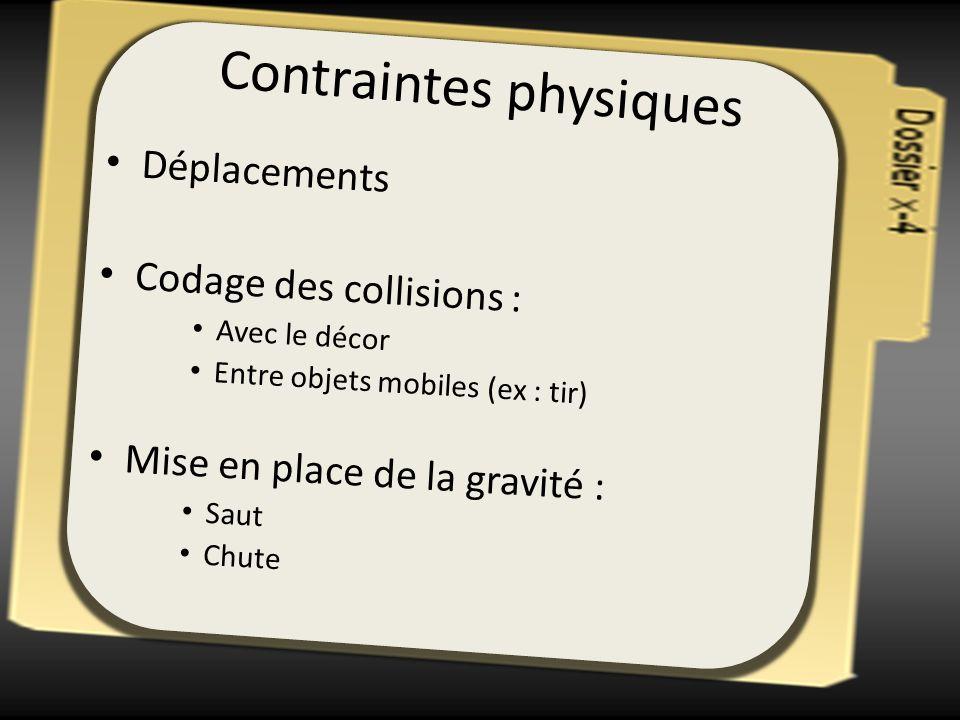 Contraintes physiques Déplacements Codage des collisions : Avec le décor Entre objets mobiles (ex : tir) Mise en place de la gravité : Saut Chute
