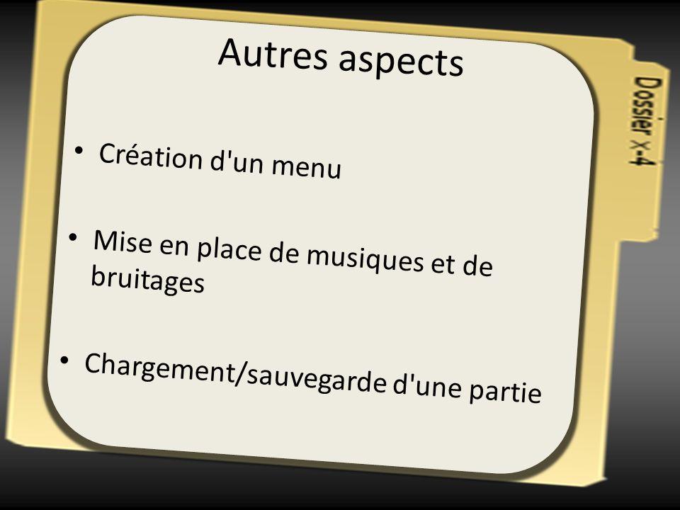 Autres aspects Création d'un menu Mise en place de musiques et de bruitages Chargement/sauvegarde d'une partie