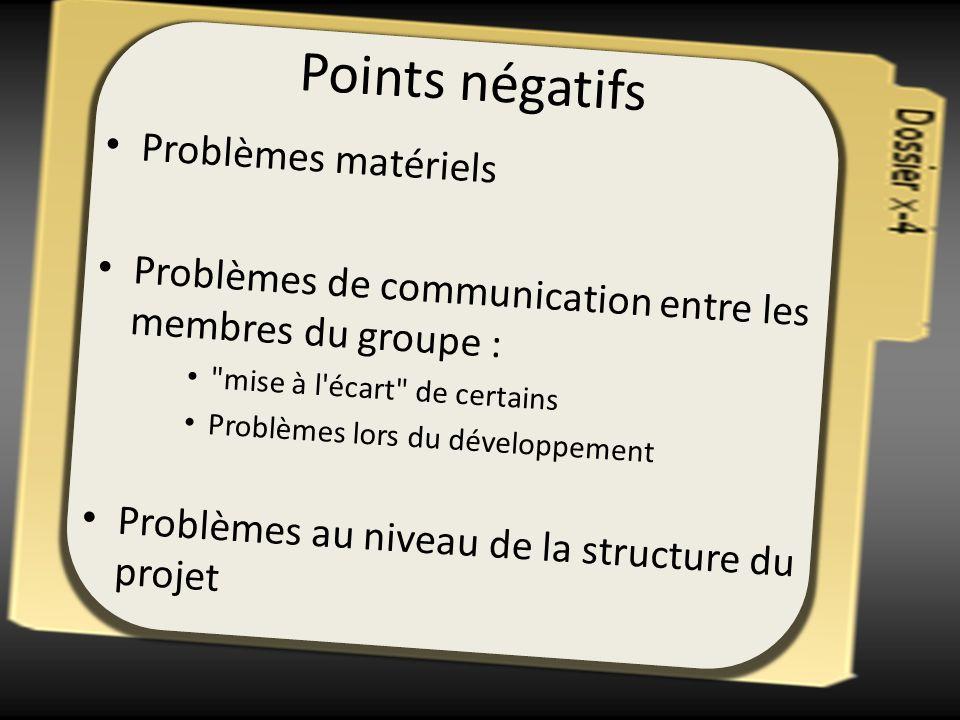 Points négatifs Problèmes matériels Problèmes de communication entre les membres du groupe :