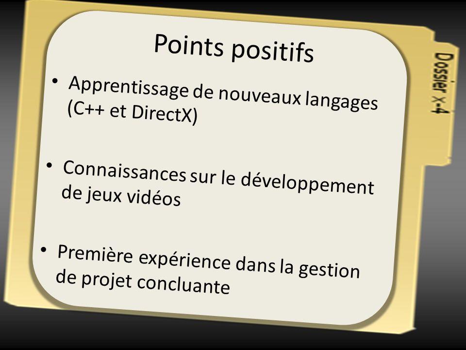 Points positifs Apprentissage de nouveaux langages (C++ et DirectX) Connaissances sur le développement de jeux vidéos Première expérience dans la gest