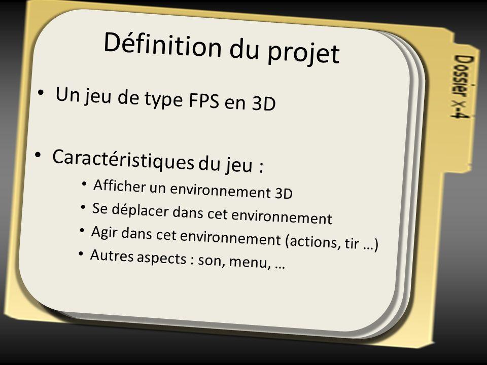 Définition du projet Un jeu de type FPS en 3D Caractéristiques du jeu : Afficher un environnement 3D Se déplacer dans cet environnement Agir dans cet