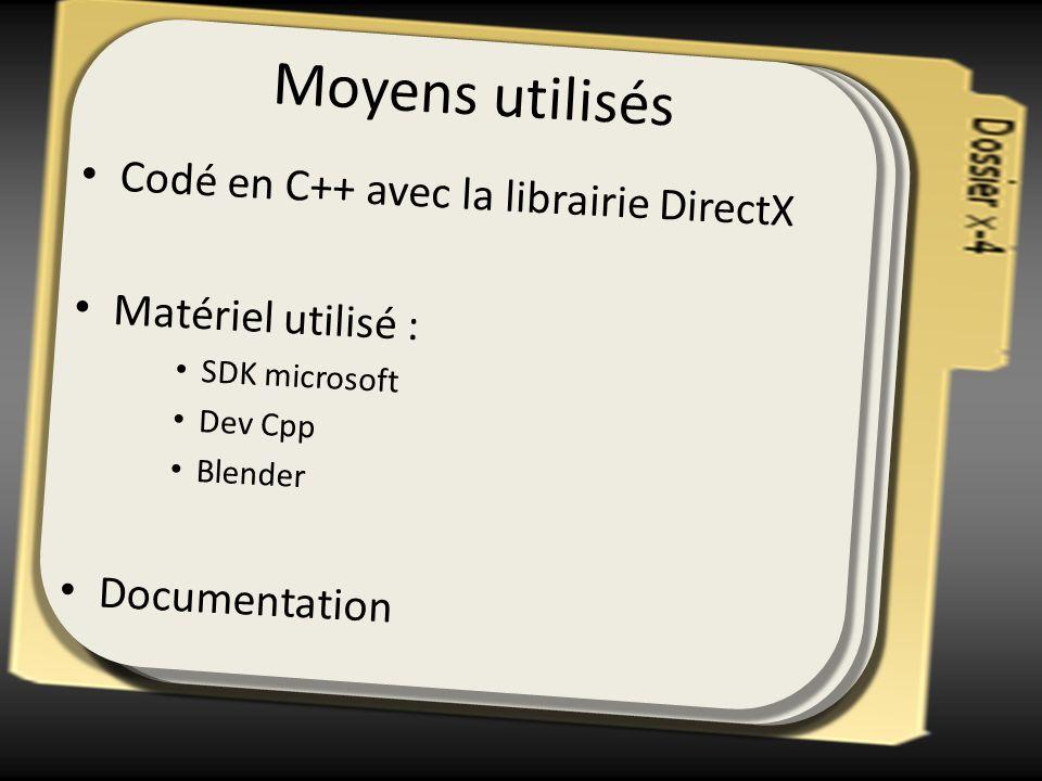 Moyens utilisés Codé en C++ avec la librairie DirectX Matériel utilisé : SDK microsoft Dev Cpp Blender Documentation